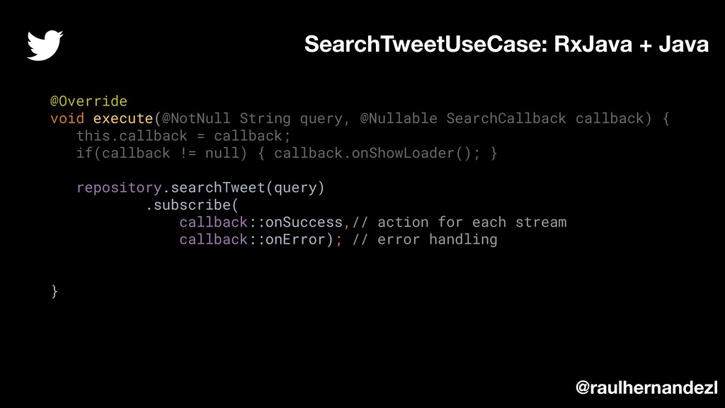 @Override void execute(@NotNull String query, @...