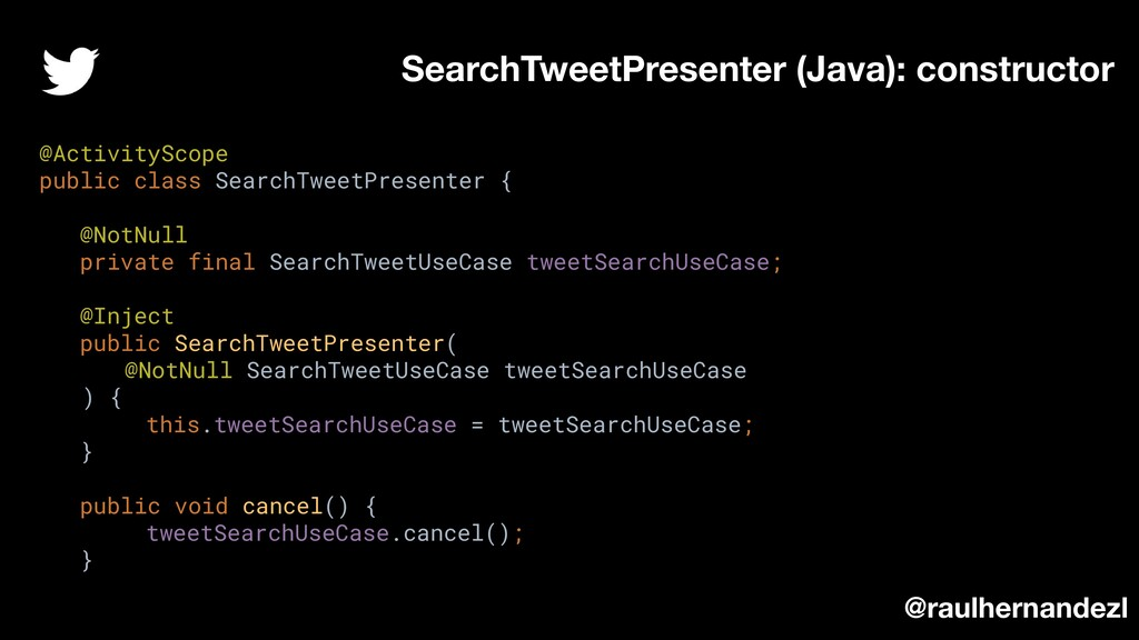 SearchTweetPresenter (Java): constructor @raulh...