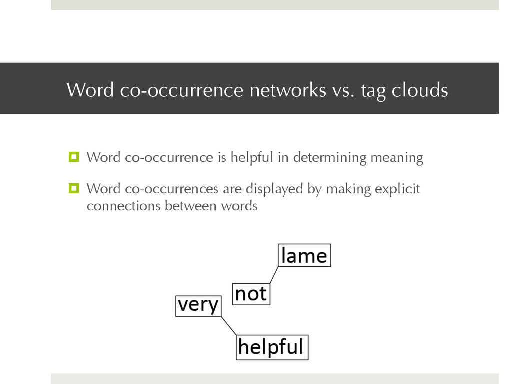 Word co-occurrence networks vs. tag clouds ¤  ...