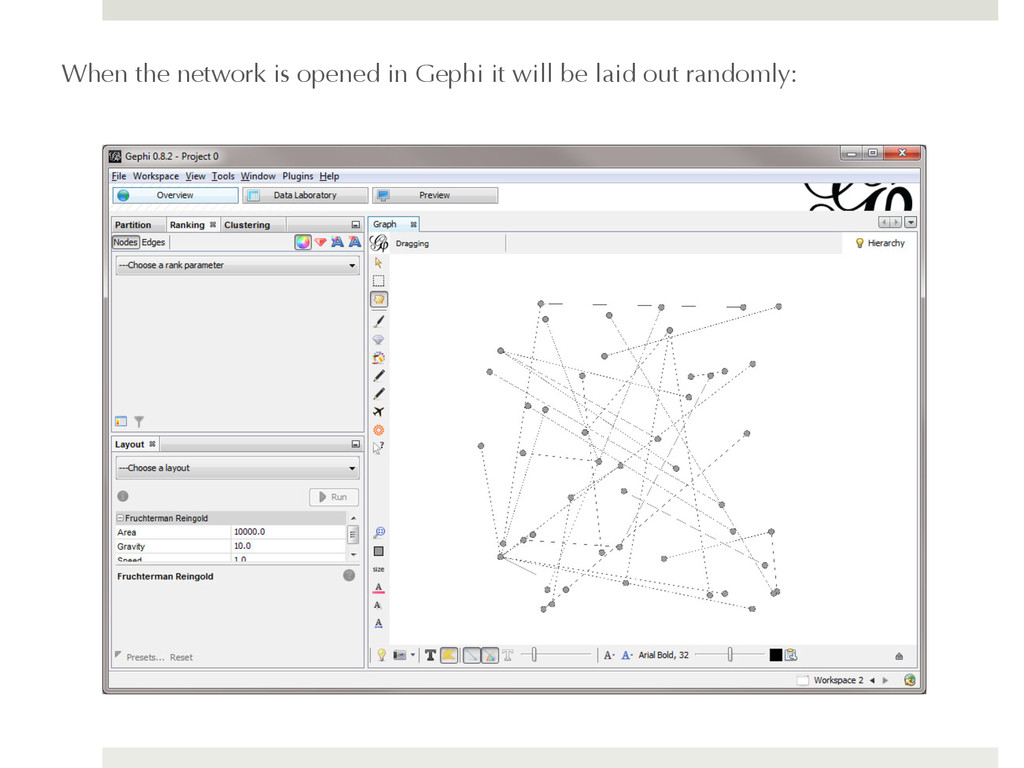 When the network is opened in Gephi it will be ...