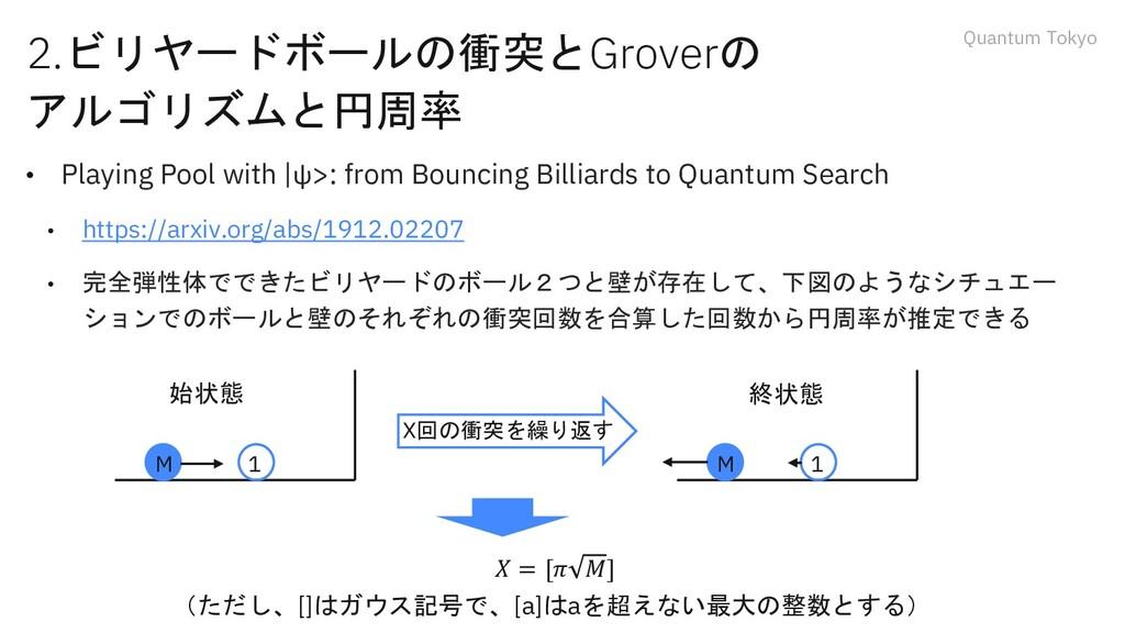 Quantum Tokyo 2.ビリヤードボールの衝突とGroverの アルゴリズムと円周率 ...