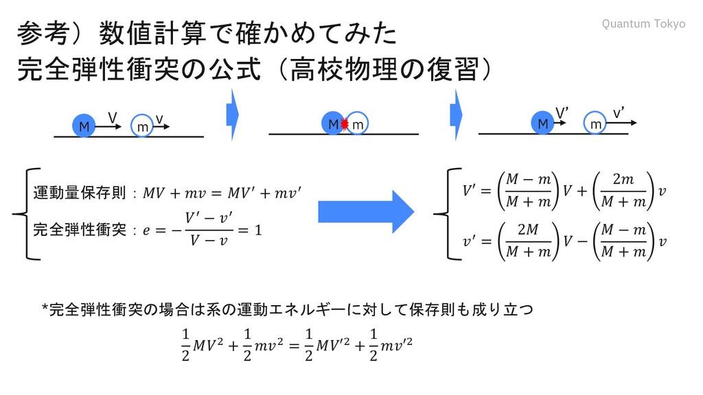 Quantum Tokyo 参考)数値計算で確かめてみた 完全弾性衝突の公式(高校物理の復習)...
