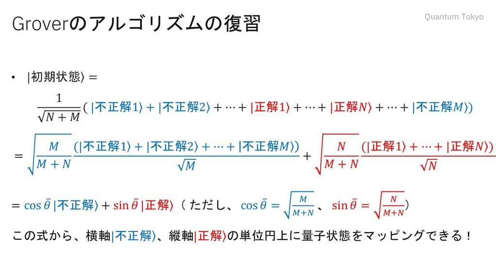 Quantum Tokyo Groverのアルゴリズムの復習 •   ۧ 初期状態 = 1 𝑁...