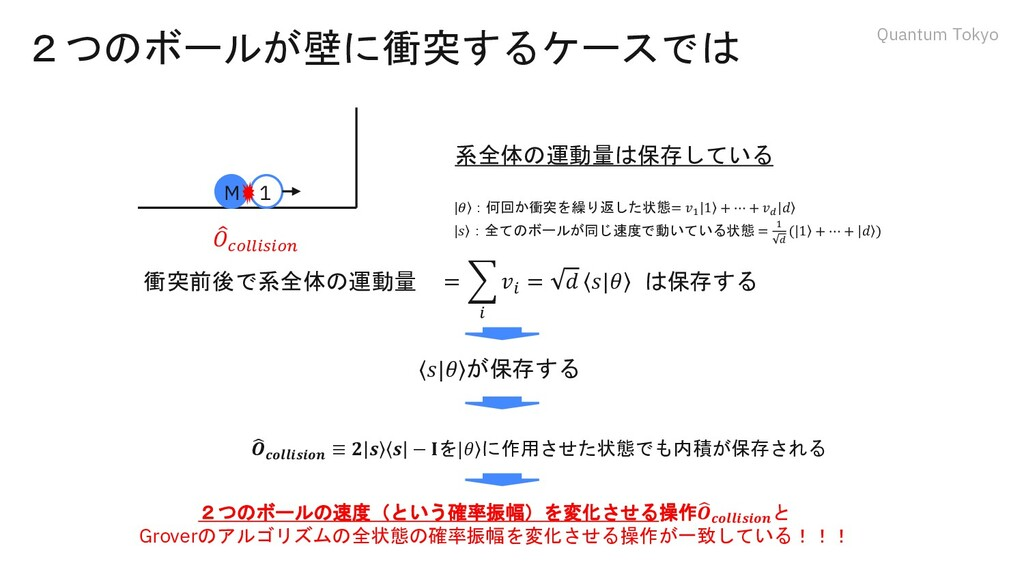 Quantum Tokyo 2つのボールが壁に衝突するケースでは 系全体の運動量は保存している...