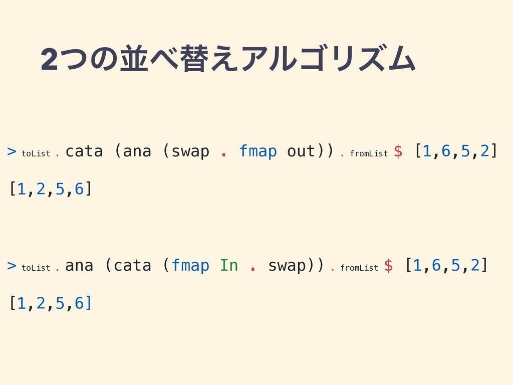 2ͭͷฒସ͑ΞϧΰϦζϜ > toList . cata (ana (swap . fmap...