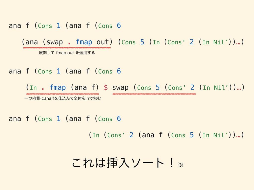 ana f (Cons 1 (ana f (Cons 6 (ana (swap . fmap ...