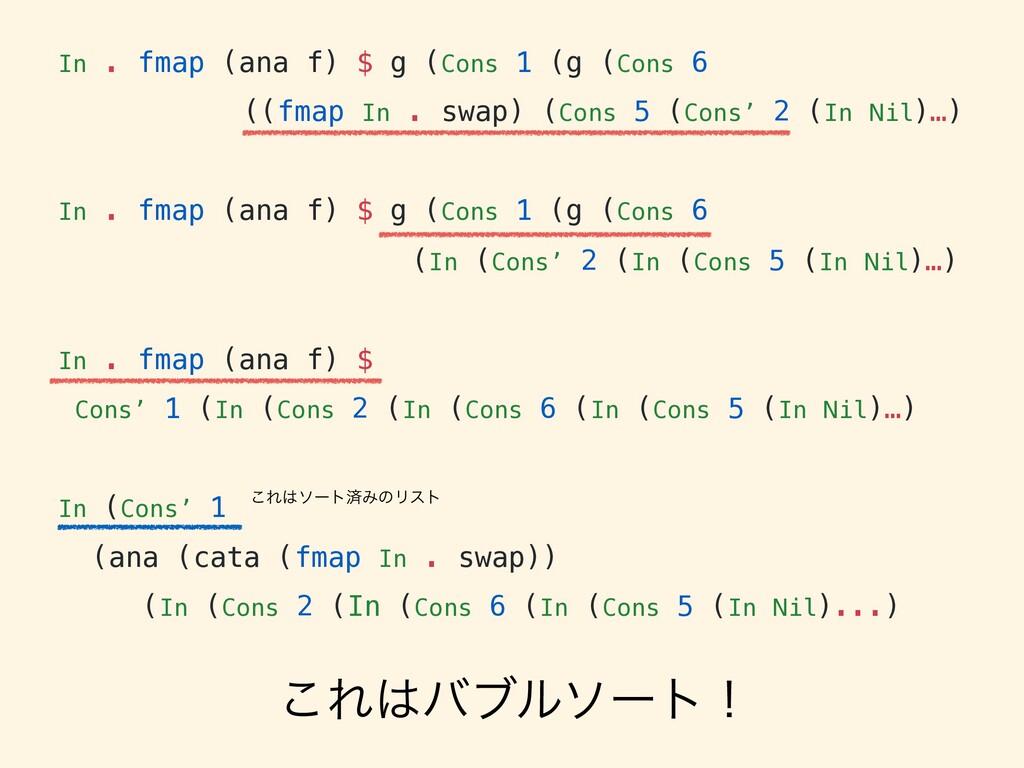 In . fmap (ana f) $ g (Cons 1 (g (Cons 6 ((fmap...