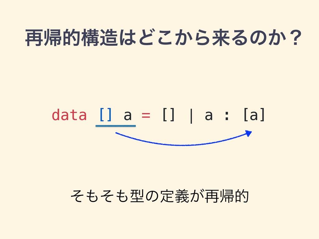 ࠶ؼతߏͲ͔͜ΒདྷΔͷ͔ʁ data [] a = [] | a : [a] ͦͦܕͷ...