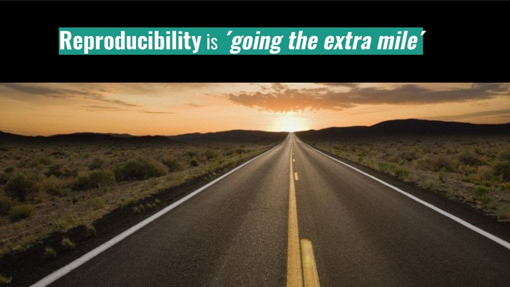 Reproducibility is ´going the extra mile´