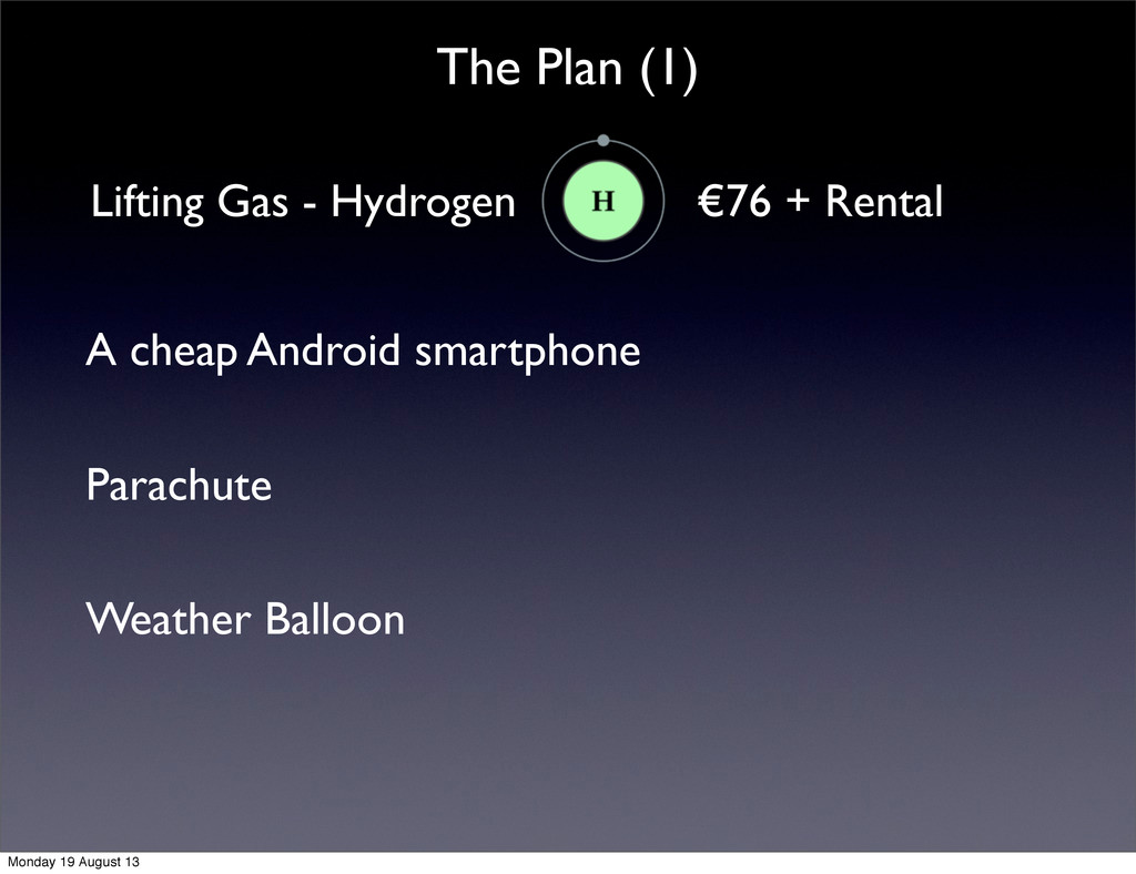 The Plan (1) Lifting Gas - Hydrogen €76 + Renta...