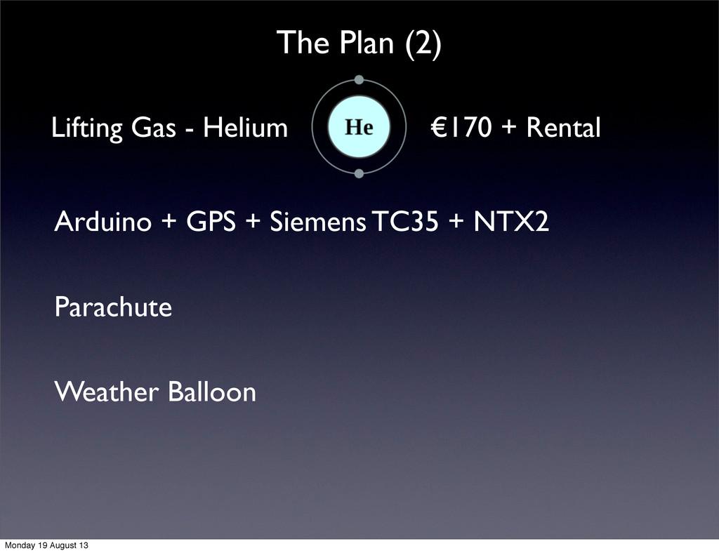 The Plan (2) Lifting Gas - Helium €170 + Rental...