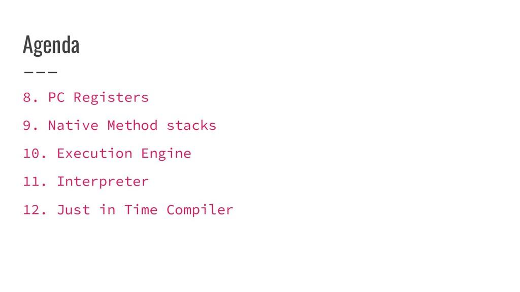 Agenda 8. PC Registers 9. Native Method stacks ...