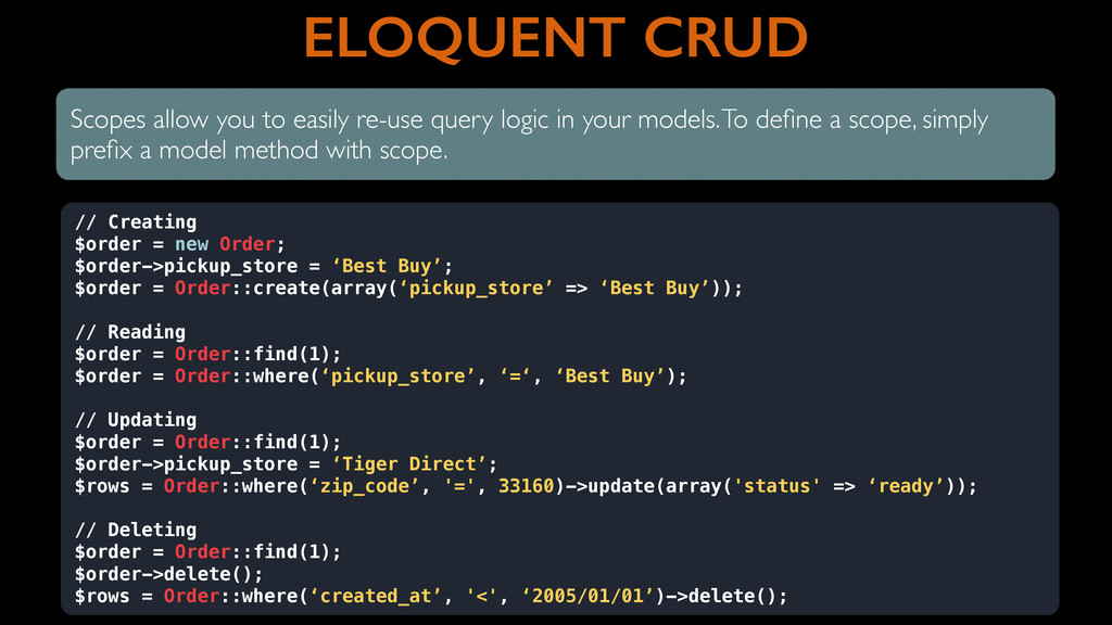 ELOQUENT CRUD Scopes allow you to easily re-use...
