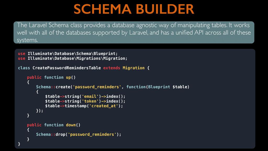 SCHEMA BUILDER The Laravel Schema class provide...