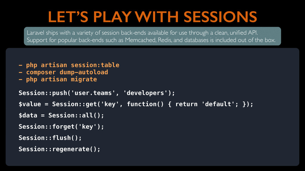 LET'S PLAY WITH SESSIONS - php artisan session:...