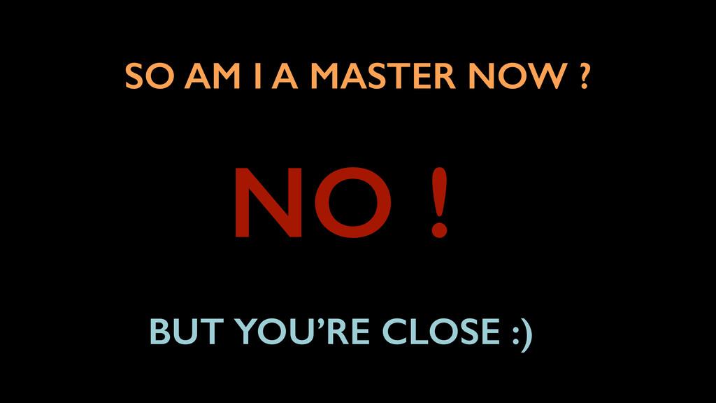 SO AM I A MASTER NOW ? NO ! BUT YOU'RE CLOSE :)