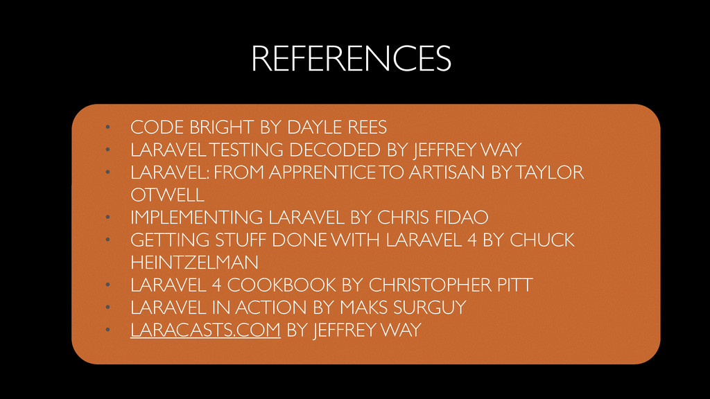 • CODE BRIGHT BY DAYLE REES  • LARAVEL TESTIN...