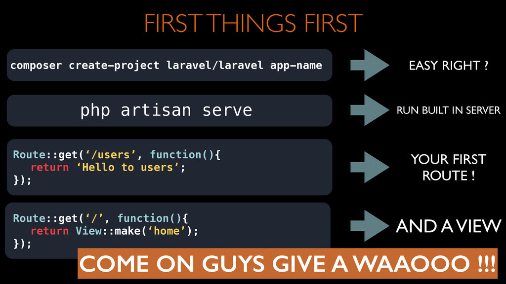 FIRST THINGS FIRST composer create-project lara...