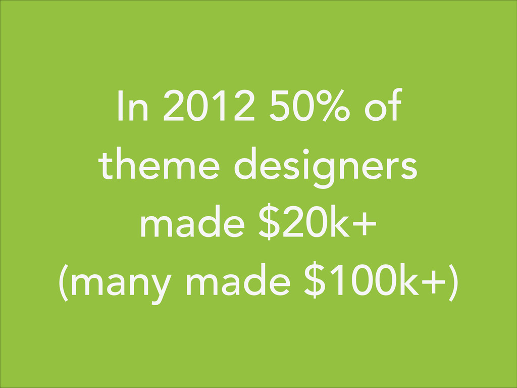In 2012 50% of theme designers made $20k+ (many...