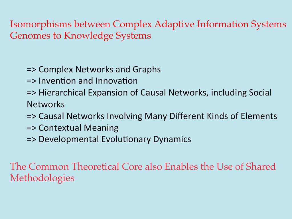 Isomorphisms between Complex Adaptive Informati...