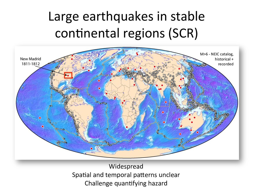 Large earthquakes in stable  con6ne...