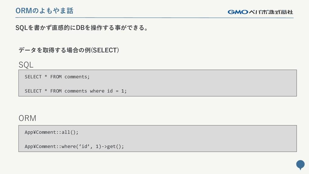 222 SQLを書かず直感的にDBを操作する事ができる。 ORMのよもやま話 SQL ORM ...