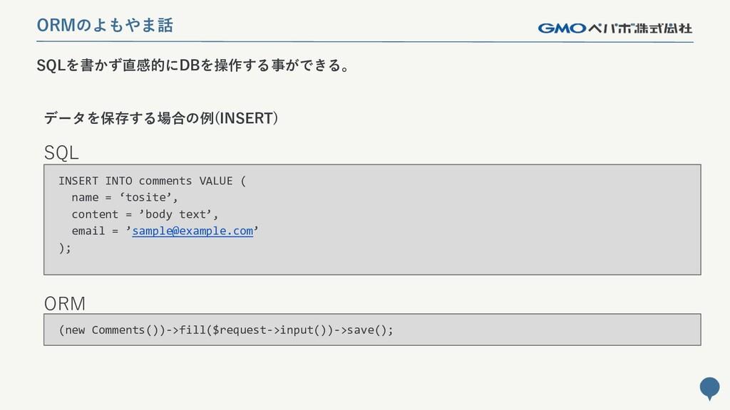 223 SQLを書かず直感的にDBを操作する事ができる。 ORMのよもやま話 SQL ORM ...