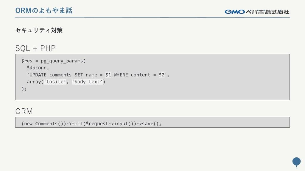228 セキュリティ対策 ORMのよもやま話 SQL + PHP ORM (new Comme...