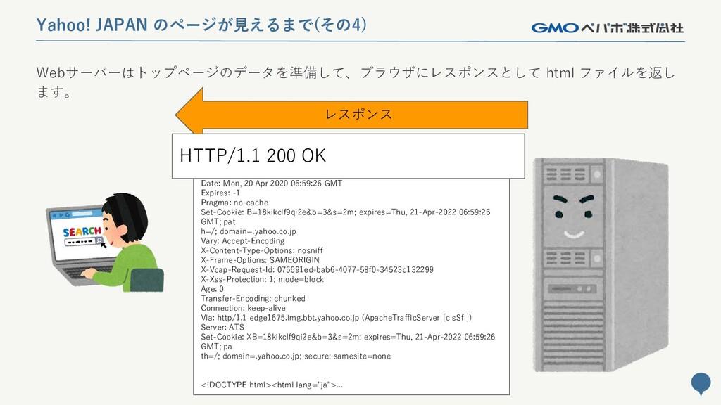 36 Yahoo! JAPAN のページが見えるまで(その4) レスポンス HTTP/1.1 ...