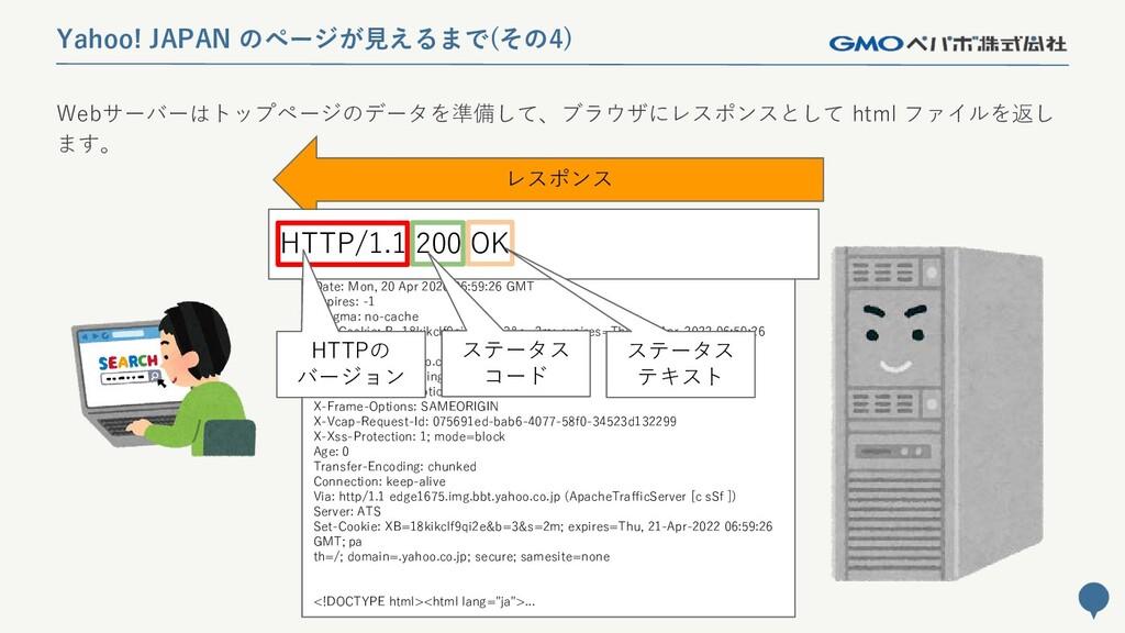37 Yahoo! JAPAN のページが見えるまで(その4) レスポンス HTTP/1.1 ...
