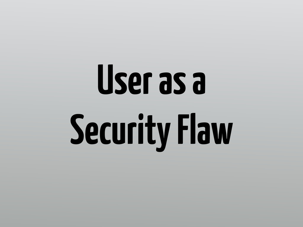 User as a Security Flaw