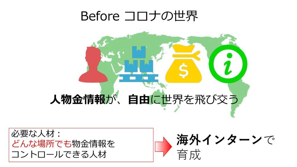 Before コロナの世界 ⼈物⾦情報が、⾃由に世界を⾶び交う 必要な⼈材︓ どんな場所でも物...