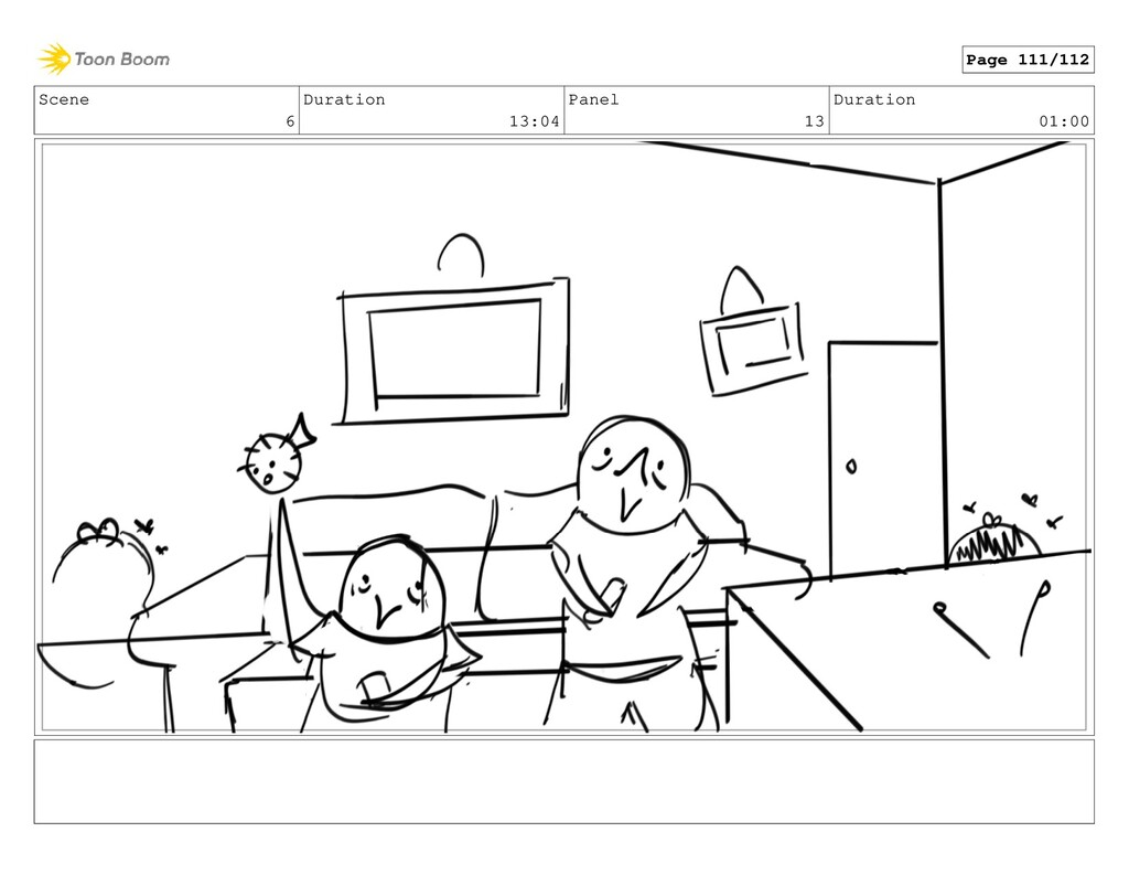 Scene 6 Duration 13:04 Panel 13 Duration 01:00 ...