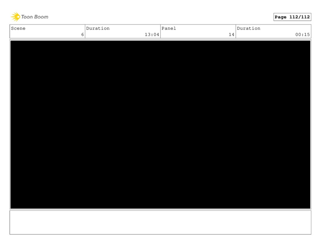Scene 6 Duration 13:04 Panel 14 Duration 00:15 ...