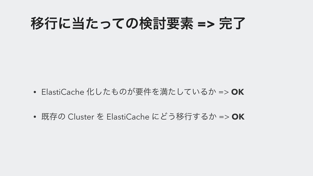 Ҡߦʹͨͬͯͷݕ౼ཁૉ => ྃ • ElastiCache Խͨ͠ͷ͕ཁ݅Λຬ͍ͨͯ͠...