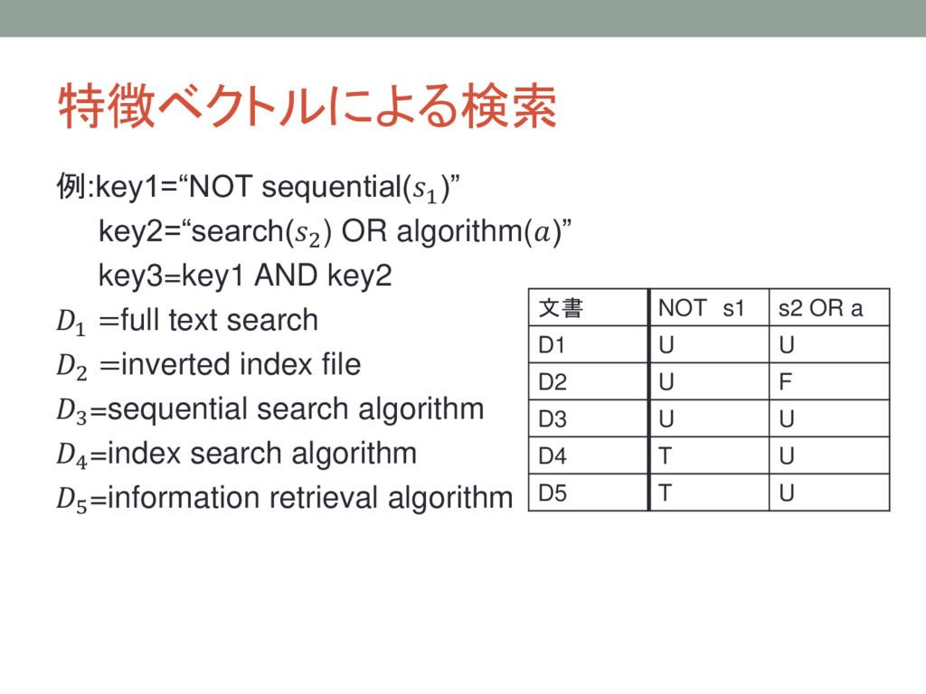 """特徴ベクトルによる検索 例:key1=""""NOT sequential(1 )"""" key2=""""s..."""