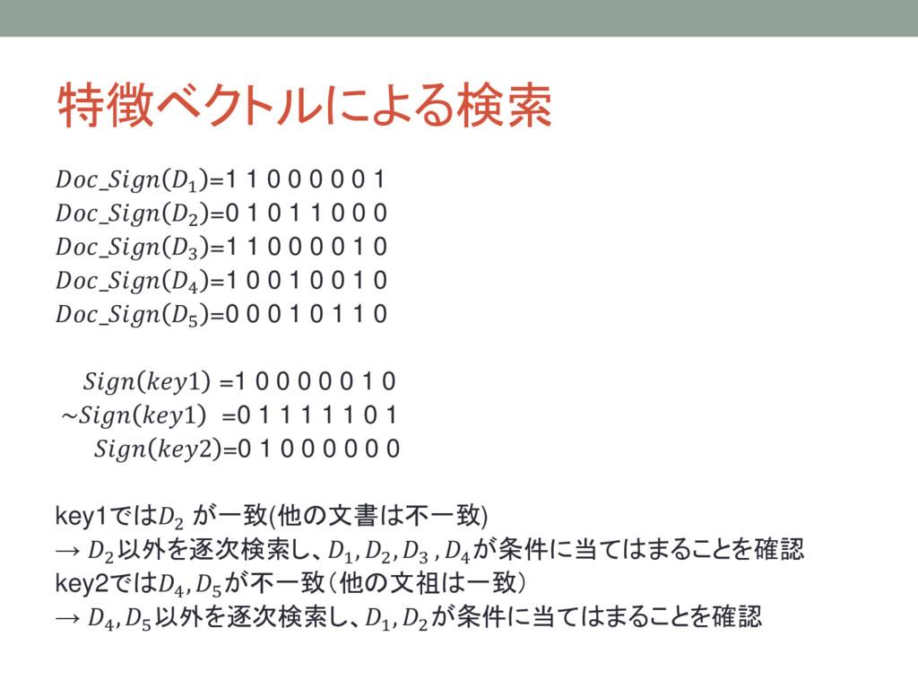 特徴ベクトルによる検索 _ 1 =1 1 0 0 0 0 0 1 _ 2 =0 1 0 1 1...