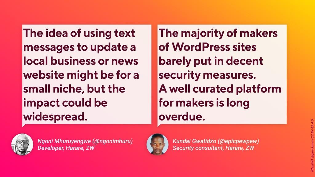 #TextWP @glueckpress CC BY-SA 4.0 Kundai Gwatid...
