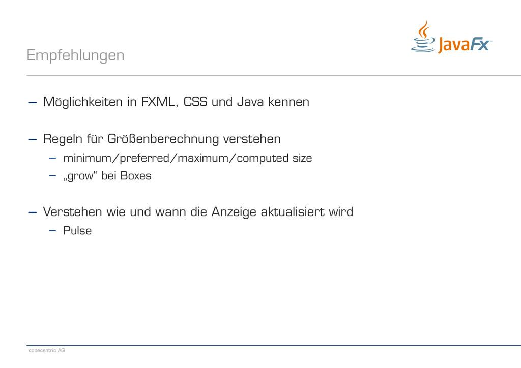 codecentric AG Empfehlungen − Möglichkeiten in ...