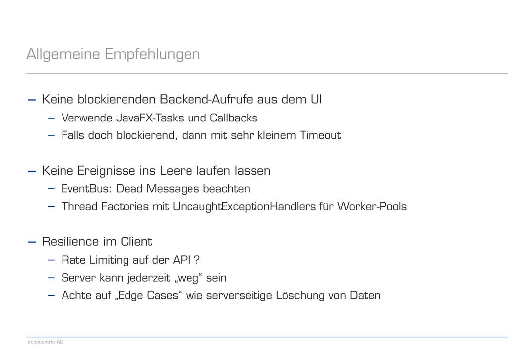 codecentric AG Allgemeine Empfehlungen − Keine ...