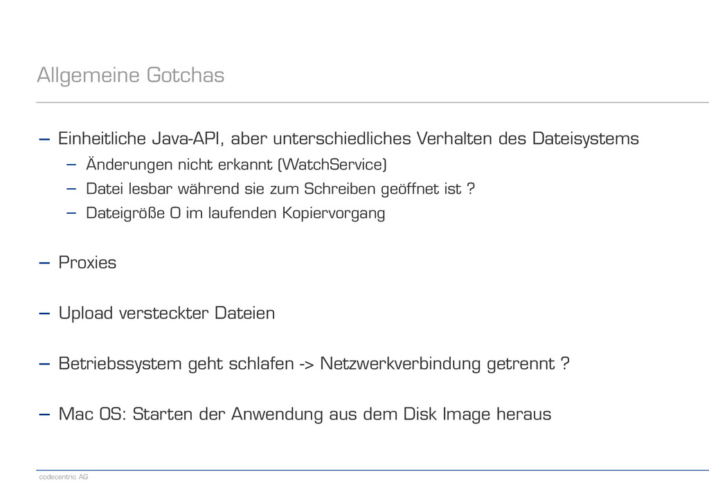 codecentric AG Allgemeine Gotchas − Einheitlich...