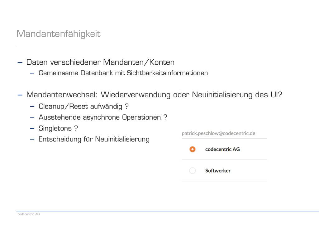 codecentric AG Mandantenfähigkeit − Daten versc...