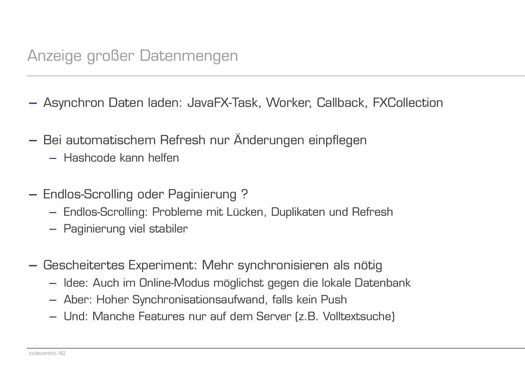 codecentric AG Anzeige großer Datenmengen − Asy...