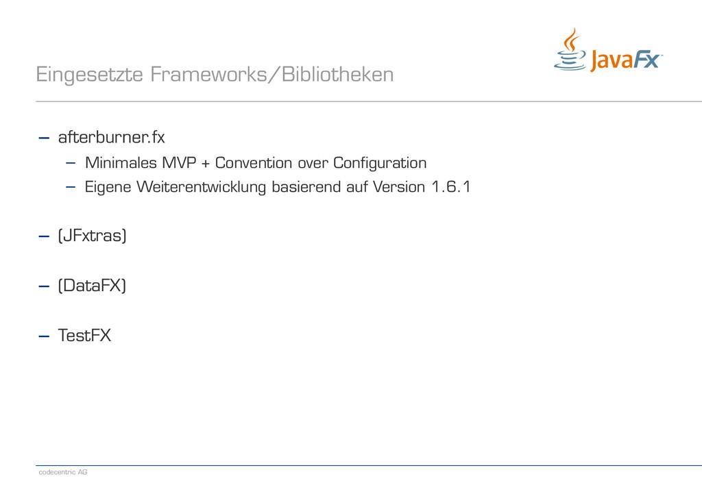 codecentric AG Eingesetzte Frameworks/Bibliothe...