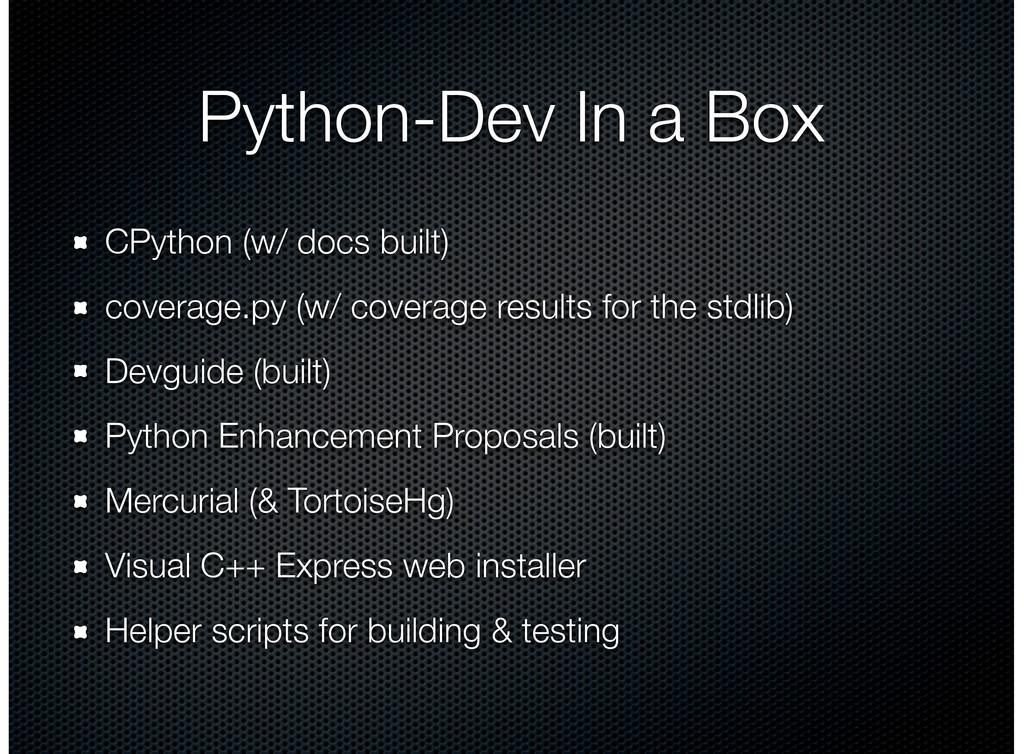 Python-Dev In a Box CPython (w/ docs built) cov...
