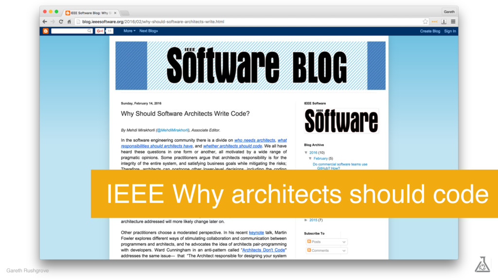 Gareth Rushgrove IEEE Why architects should code