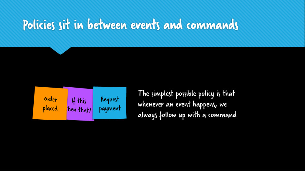 Policies sit in between events and commands If ...