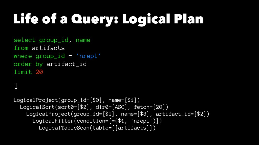 Life of a Query: Logical Plan select group_id, ...