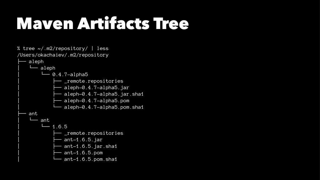 Maven Artifacts Tree % tree ~/.m2/repository/ |...