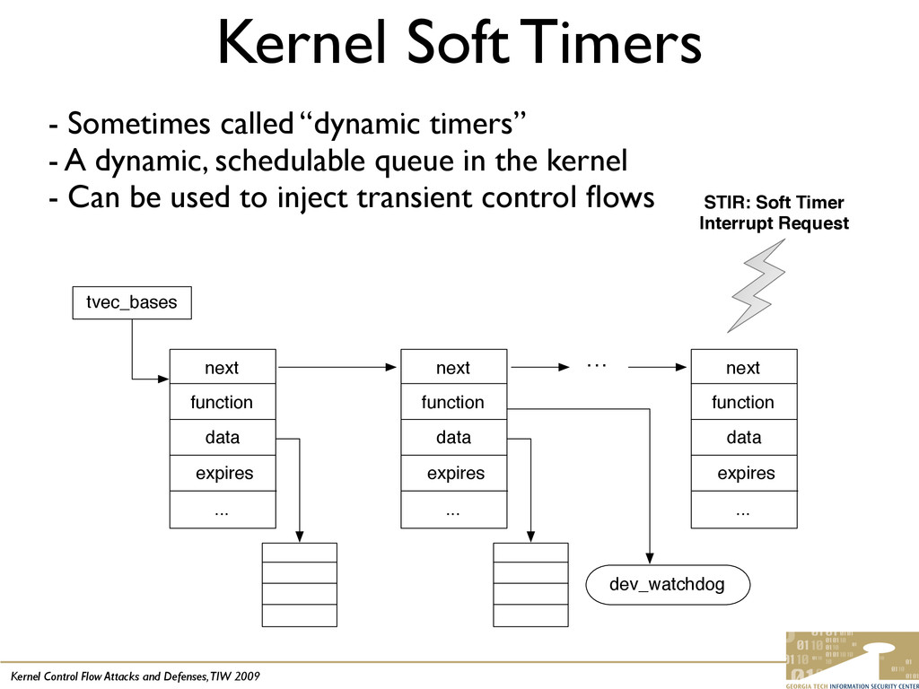 Kernel Control Flow Attacks and Defenses, TIW 2...